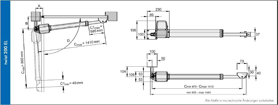 Sommer Twist 200EL kapunyito motor műszaki rajz - kaputechnikaszerviz.hu